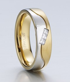 gold plated fashion stainless steel 3 stones ring(China (Mainland))