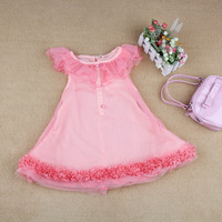 2013 female child 100% cotton ruffle tulle dress one-piece dress princess dress