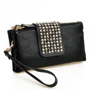 2013 female fashion rivet handbags, women's faux leather evening bag