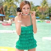 Fairy hot spring female layered dress one piece small steel push up swimwear