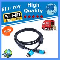 200pcs/lot 1.5M HDMI AM-AM Blue Alumininum Housing Cable W/Ferrite Cores for 1080p HDTV PS3