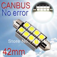 2pcs 42mm 8 SMD 5050 Pure White Dome Festoon CANBUS OBC Error Free Car 8 LED Light Bulb Lamp Interior Lights C5W Led