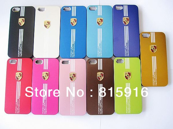 Free shipping Luxury Car Logo Fasion Aluminium Metal back cover hard Case for Iphone 4 4S(China (Mainland))