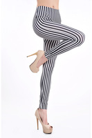 Free shipping High quality New Black And White Stripes Leggings