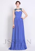 12P099 Elegant Crew Neck Sleeveless A-Line Ruched Chiffon Junoesque Elegant Gorgeous Luxury Unique Brilliant Prom Evening Dress