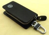 Top Quality Black Genuine Leather VW Volkswagen LOGO Auto Key Case Bag KeyChain, Free Shipping