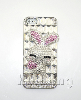 New Perfume Luxury 3D Handmade Bling Diamond Crystal Shy Rabbit Hard Back Cover Case For Apple Iphone 5 5G 5th Shell P392
