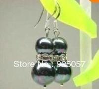 Charming!8-10mm Black Sea Shell Pearl Earring AAA Fashion jewelry