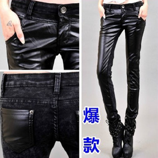 2012 autumn and winter women leather pants pencil fashion street denim patchwork PU casual trousers(China (Mainland))