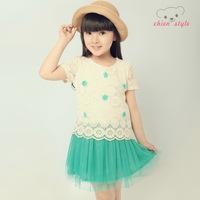 Female child 2013 summer one-piece dress child tulle floral print dress decoration lace princess dress
