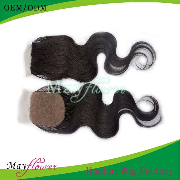Wholesale Price Virgin Brazilian Human Hair Silk Top Closure Bleached Hidden Knots Freestyle(China (Mainland))