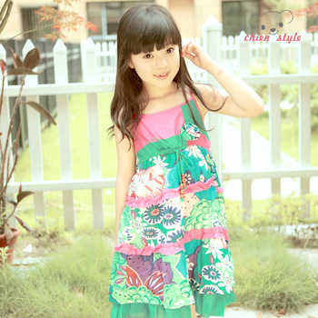 Female child summer one-piece dress suspender skirt child 100% cotton floral print skirt