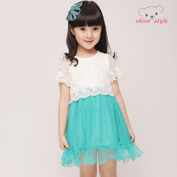 Female child summer lace short-sleeve dress gauze skirt candy color