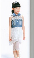 Children's clothing summer 2013 mdash . hot-selling chiffon lace denim skirt 606