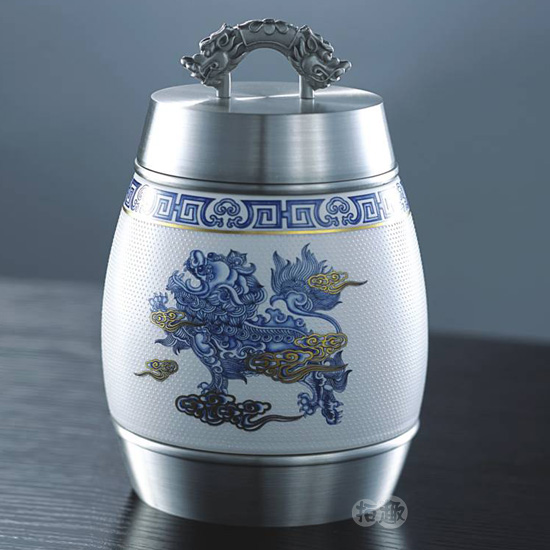 Glaze blue and white porcelain pure pewter tea caddy fashion quality business gift(China (Mainland))