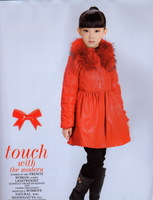 2013 autumn and winter 35 : female child fur red festive leather bh1619 cotton-padded coat