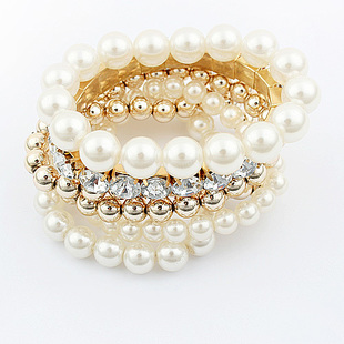 Hand ring fashion elegant pearl sparkling diamond multi-layer bracelet 2301(China (Mainland))