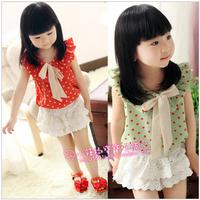 2013 female child summer polka dot bow sleeveless chiffon vest