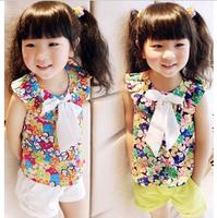 2013 summer female child chiffon bow top vest