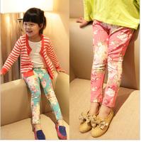 Spring female child vintage fashion flower slim skinny legging pants