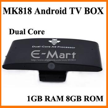MK818 Android Mini PC TV Box Rockchip RK3066 Dual core 1.6GHz 1GB RAM 8GB ROM Support Mic  webcam Bluetooth AV Port RJ45 Port