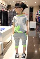 2013 twinset summer female child sports casual pants set