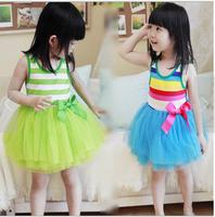 2013 female child stripe tulle dress princess dress