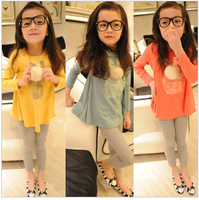 New arrival spring rabbit pattern female child candy color long-shirts t-shirt s3001
