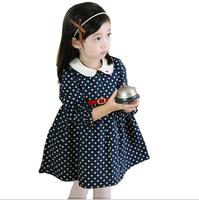 2013 female child dot child dress princess dress female child spring long-sleeve dress