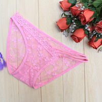 Fashion Women's See Through Lace Panties Briefs Lingerie Flowers Pattern Underwear   Free & Drop shipping SL00271