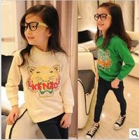 Spring female child tiger print long-sleeve basic shirt t-shirt sweatshirt q3002