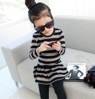 2013 spring new arrival female child 100% cotton one-piece dress stripe skirt q3011