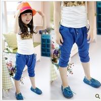 2013 summer female child personality big PP thin denim pants