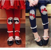 2013 children's clothing lace bow all-match patch pants legging