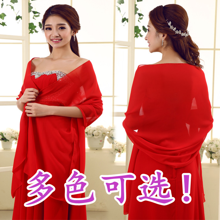 100d silk chiffon material ! long formal dress cape summer cape sunscreen chiffon cape p01(China (Mainland))