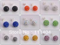 Min Order $8,freeshipping Jewelry Shamballa Earrings, 925 Silver Crystal Disco Ball Shamballa Stud Earrings Gift Bag