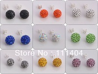 Min Order $8,freeshipping Jewelry Shamballa Earrings, 925 Silver Crystal Disco Ball Shamballa Stud Earrings Gift Bag