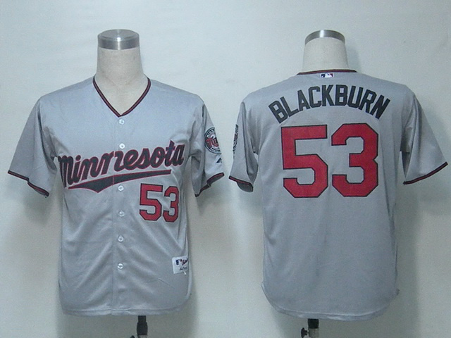 wholesale usa Minnesota Twins 53 blackburn grey baseball Jersey,Size 48,50,52,54,56 mix order,Free Shipping(China (Mainland))