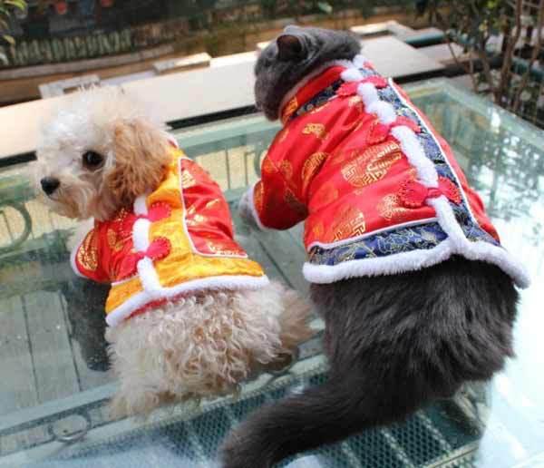 Dog Fashion roupas de inverno chinês Tang terno Pet Vest Jacket com Prints Red grátis frete #9411(China (Mainland))
