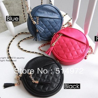Best Selling!!2013 candy color round of small chain bag women plaid tassel bags cross-body handbag bag Free Shipping