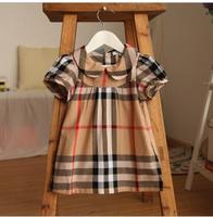 2013 female child peter pan collar plaid turn-down collar baby dress