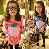 2013 spring female child autumn stripe lollipop slim hip t-shirt s2007