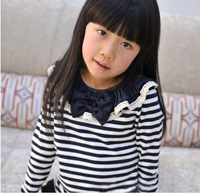 2013 spring - female child stripe chiffon bow peter pan collar long-sleeve T-shirt s2009