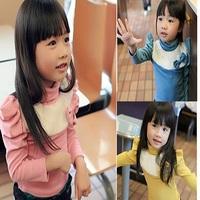 2013 female child spring turtleneck plush bow s2085 basic shirt