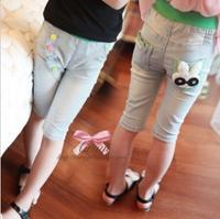 2013 female child summer rabbit multicolour button cotton denim knee length legging trousers