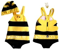 Free shipping neutral baby swimwear,Baby girls boys Cute bee piece swimsuit 4set/lot,Baby swimming suit,Kids beach wear