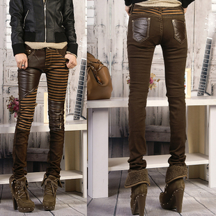 Patchwork leather pants female skinny jeans pants autumn fashion pencil pants plus size boot cut jeans legging tights(China (Mainland))