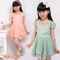 Children's clothing 2013 summer female child one-piece dress child chiffon one-piece dress princess dress child