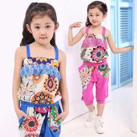 Children's clothing 2013 summer female child national trend casual set spaghetti strap sports set