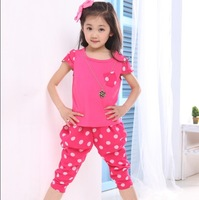 Children's clothing 2013 summer female child polka dot casual set child 100% cotton short-sleeve chiffon twinset